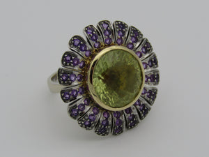 18kt gold citrine and amethyst ring by designer Mark Gold.