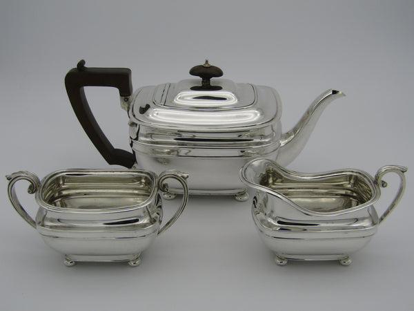 Art Deco three piece tea set by Harrison Bros and George Howson, Sheffield, 1935.