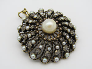 9kt gold Victorian diamond and pearl pendant and brooch, Circa 1860.