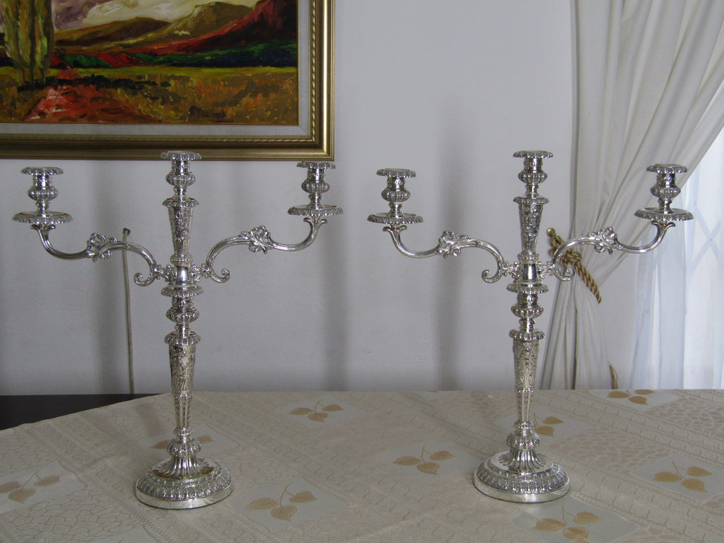Pair of Georgian silver candelabra's by Matthew Boulton, Birmingham 1787.