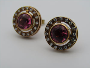 Pair of 9kt gold pink tourmaline and diamond earrings.