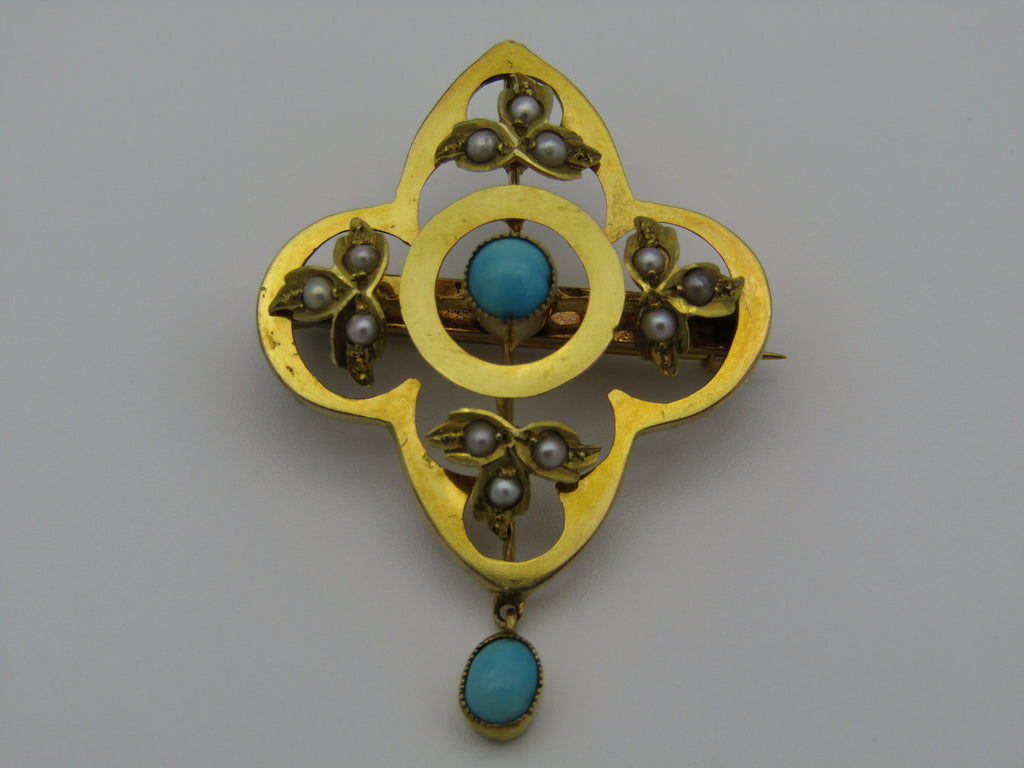 9kt gold Victorian turquoise and seed pearl brooch.