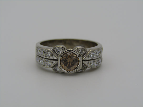 18kt white gold fancy brown and colourless diamond ring.
