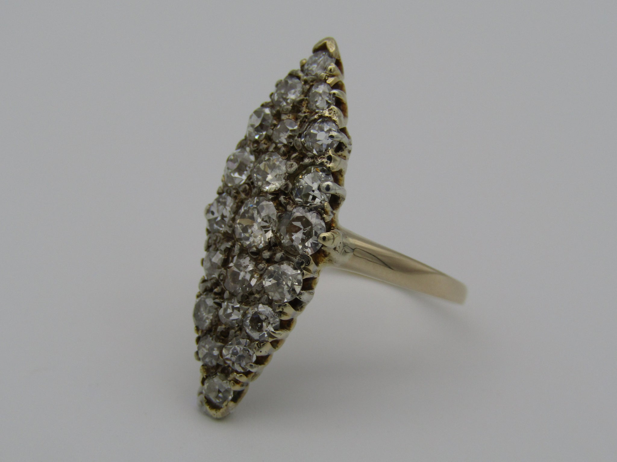 18kt yellow gold Victorian diamond ring.