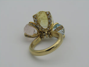 18kt yellow gold citrine, rose quartz, blue topaz and diamond designer ring by Chimes.