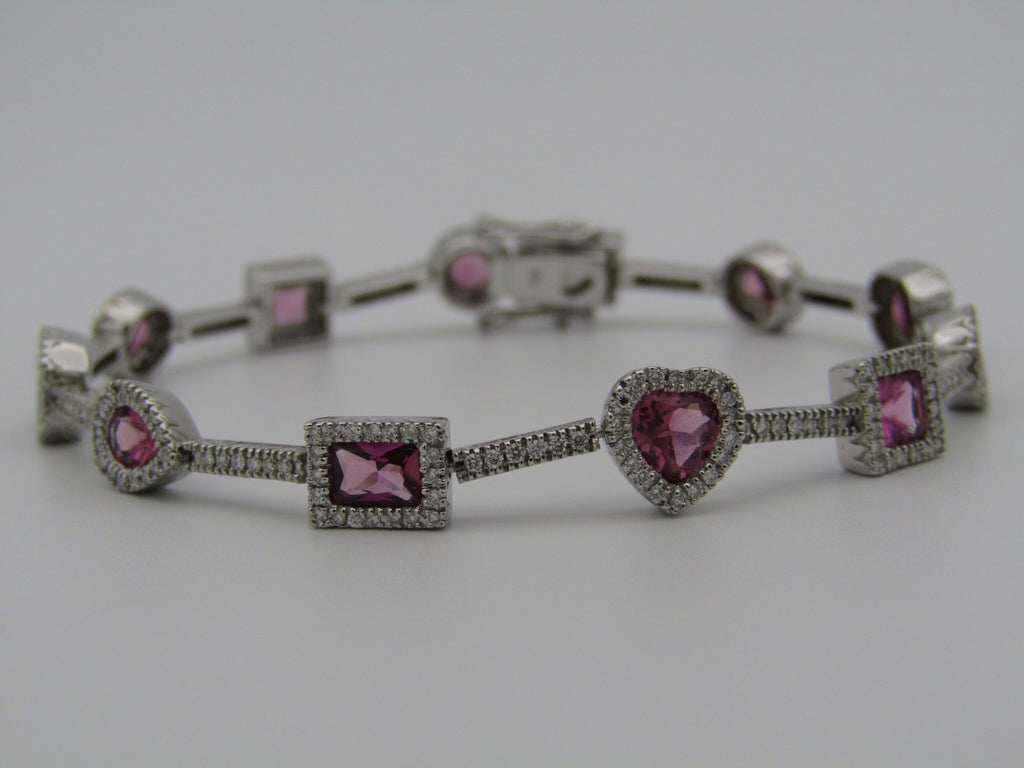 18K gold pink tourmaline and diamonds bracelet.