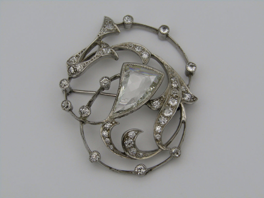 18kt white gold Russian diamond brooch.