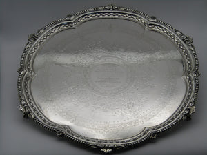 A large sterling silver tray by Harrison Bros & George Howson. Sheffield, 1904.