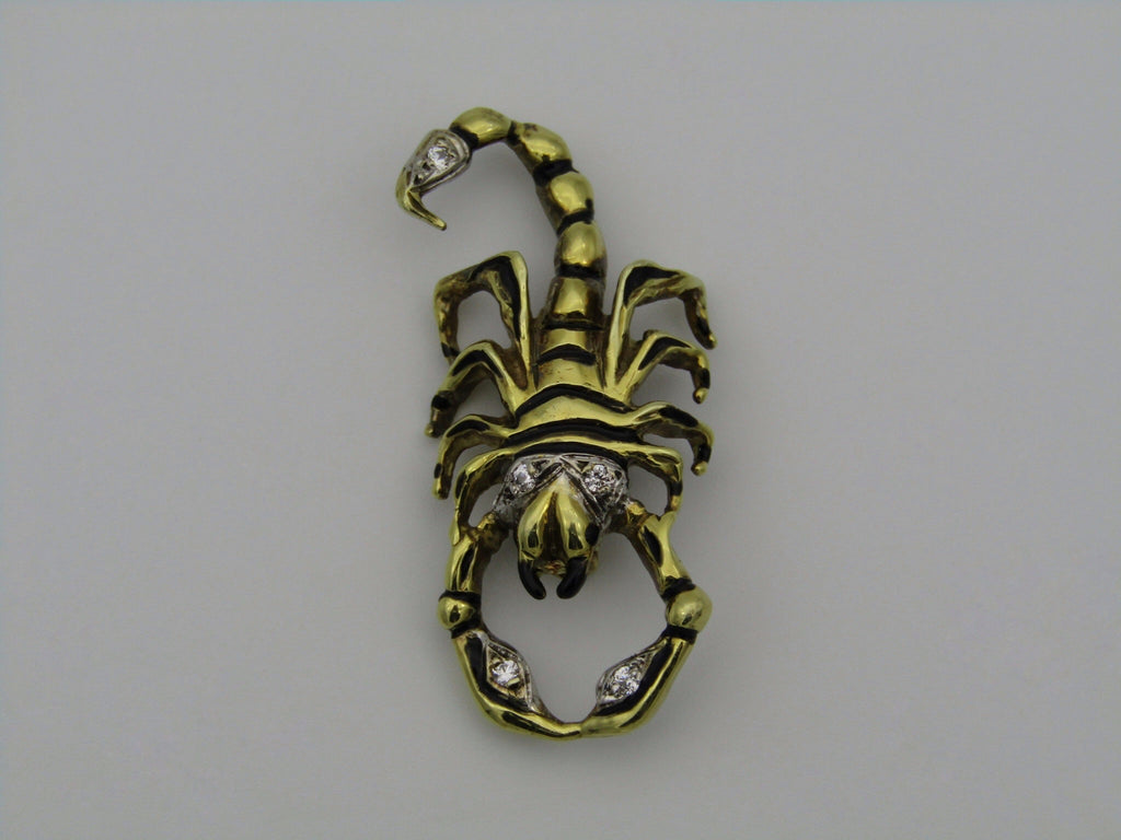 14K gold diamond and enamel scorpion brooch/pendant.