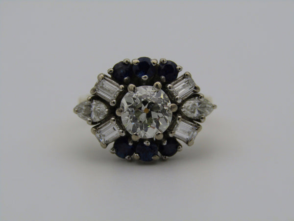 18kt gold Art Deco diamond and sapphire ring.