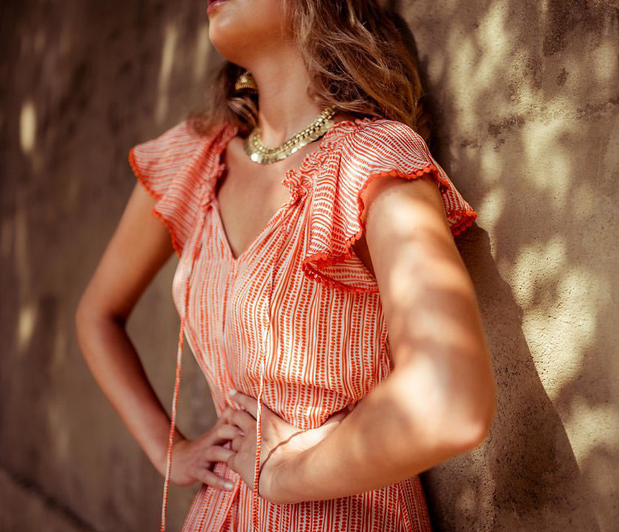 Viola Dress | Sunset Geo Stripe