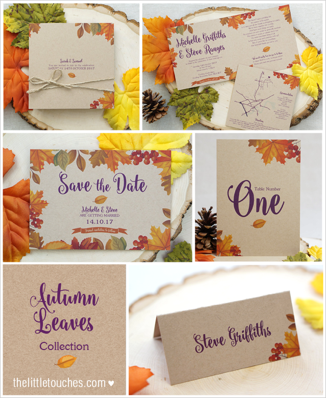 Autumn Leaves weddings stationery
