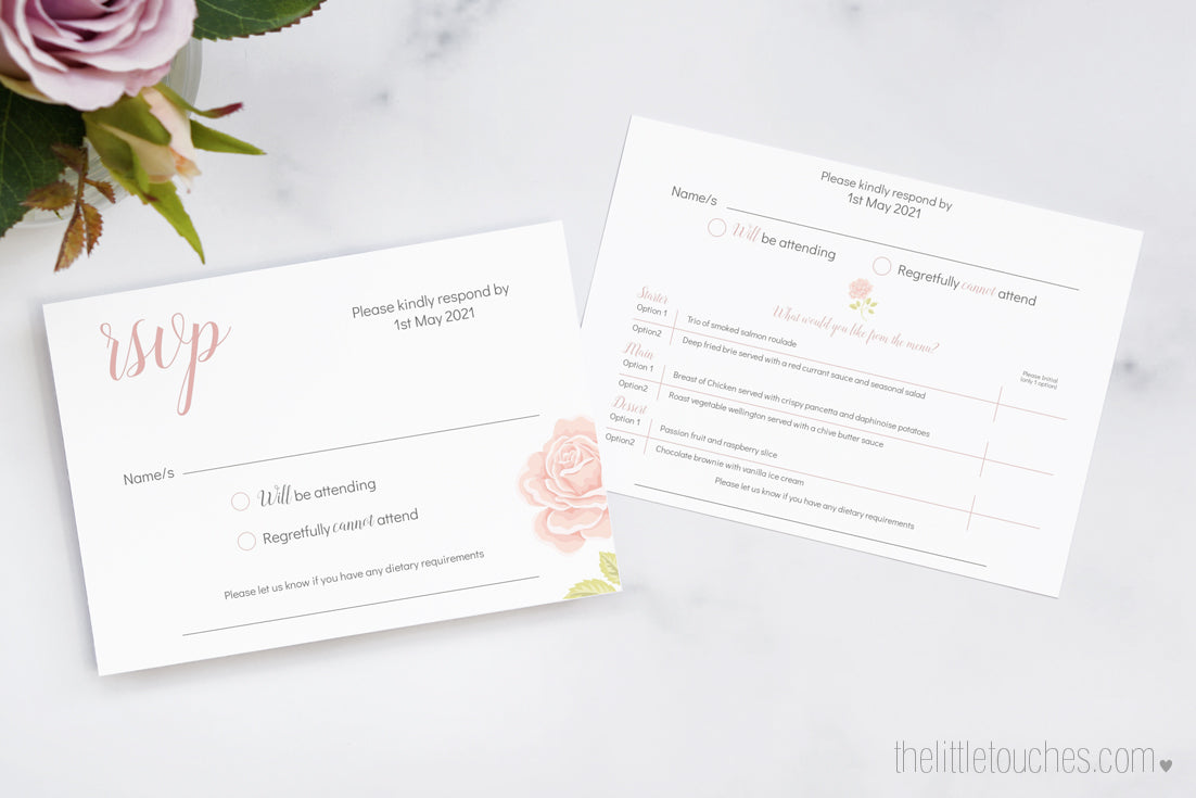 Rose Wedding Invitation RSVP card with menu options