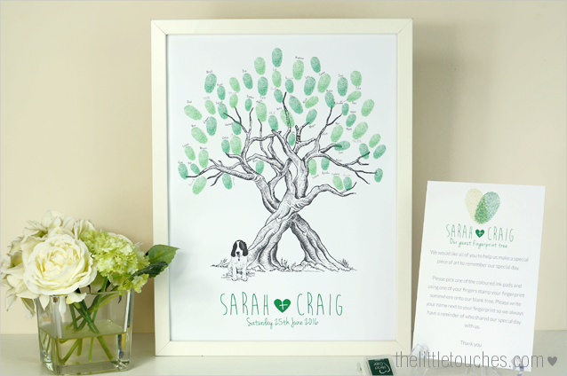 Pet fingerprint tree guest book