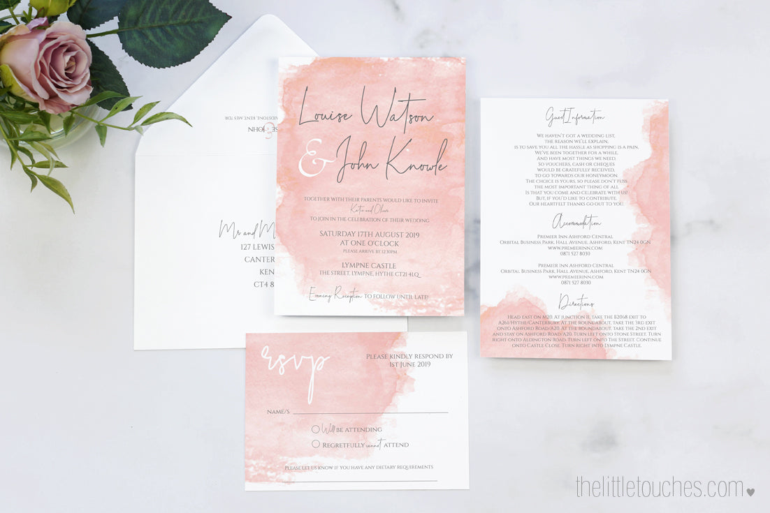 Pink Watercolour Wedding Invitation Set Templates