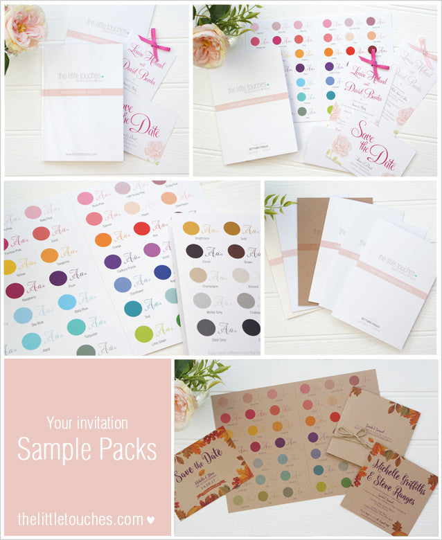 Wedding invitation sample packs