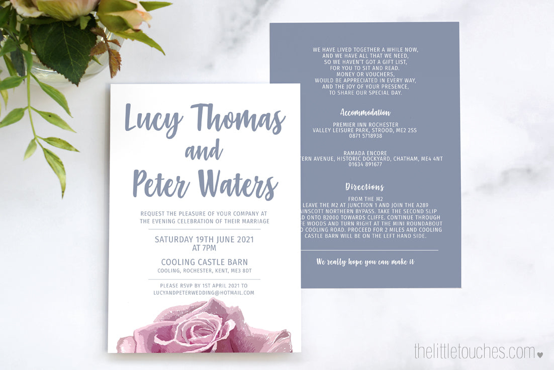 Sketch Rose Wedding Invitation Guest Information