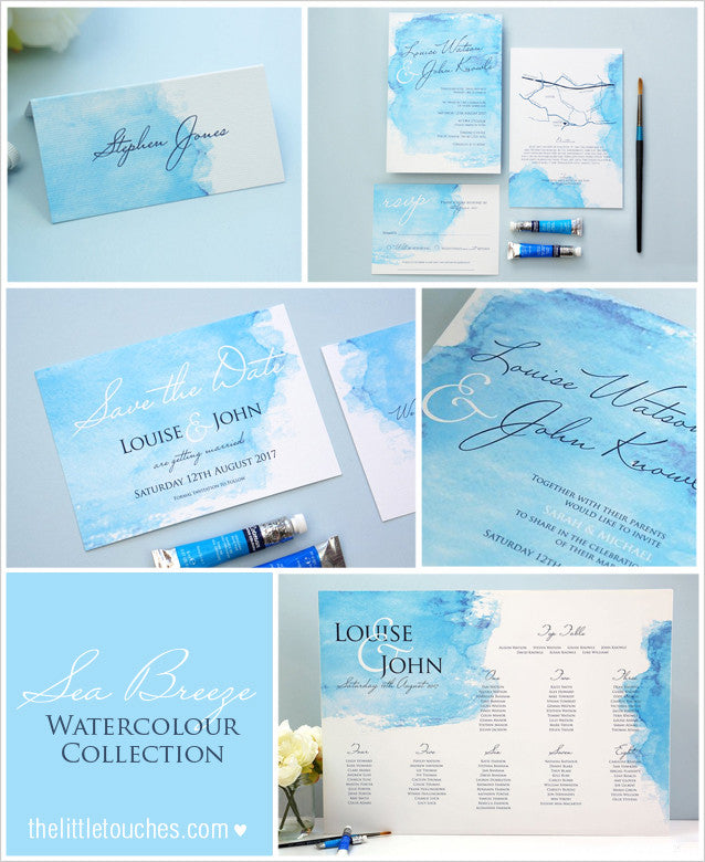 Watercolour wedding stationery