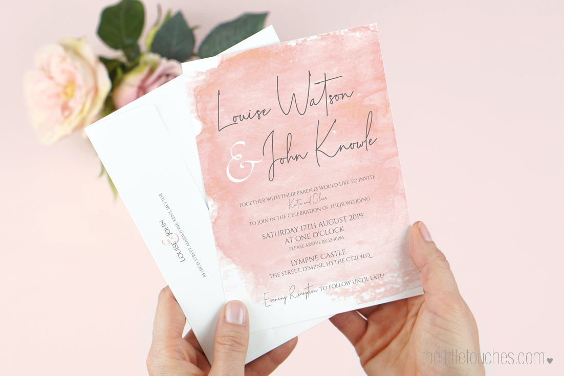 Blush Pink Watercolour Wedding Invitations