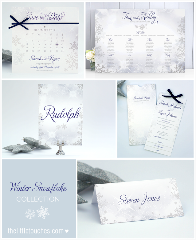 Winter Snowflake Christmas Wedding stationery