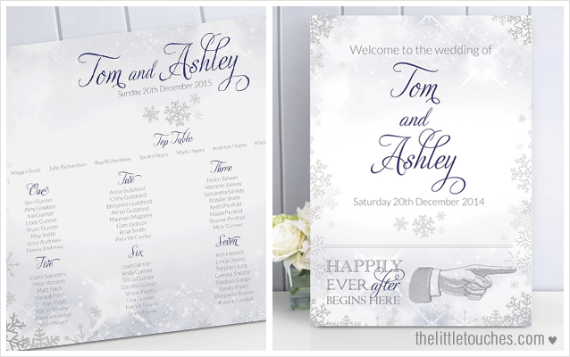 Winter snowflake christmas table plan and welcome sign