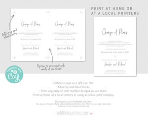 Printable Change of Plans Wedding Announcement Template