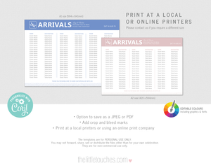 Destination Travel Wedding Arrivals Table Plan