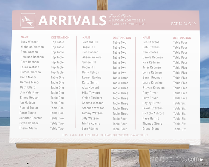 Destination Wedding 'Arrivals' Printable Table Plan