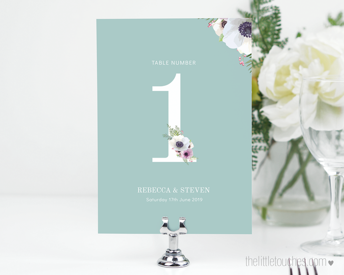 Floral Anemone Printable Table Numbers