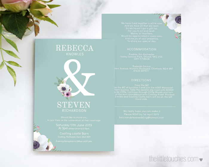 Floral Anemone Printable Single Wedding Invitation