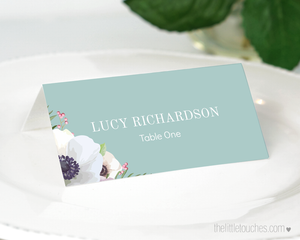 floral wedding place setting template