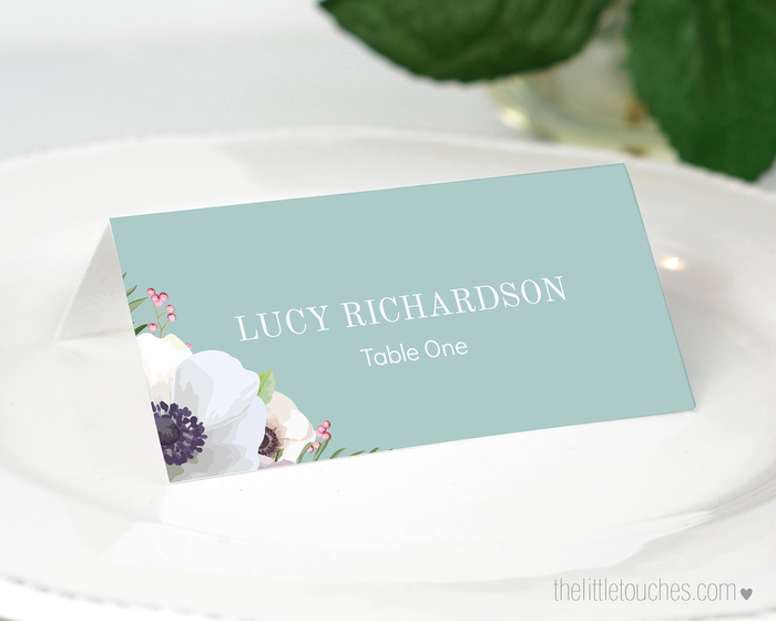 Floral Anemone Printable Place Settings