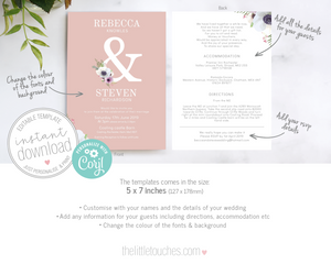 Floral Anemone DIY printable wedding invitation template