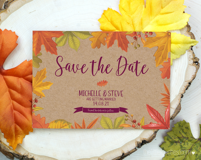 Autumn Leaves / Fall Printable Save the Date Cards