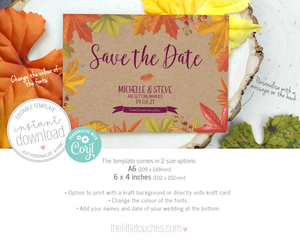 Autumn Fall Printable Save the Date template