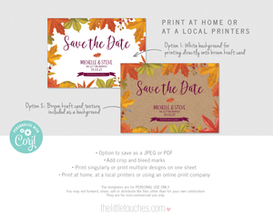 Rustic Autumn Fall Save the date template