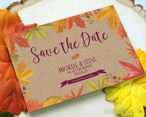 Autumn Leaves Fall Save the Date template