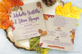 Autumn Leaves Evening Wedding Invitations