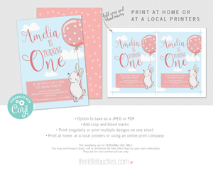 Birthday Bunny Printable Party Invitation Template