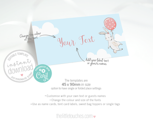 Birthday Bunny Party Tent Card Label template