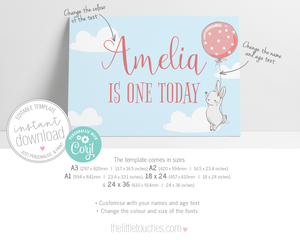 Printable Bunny Party Poster Backdrop Template