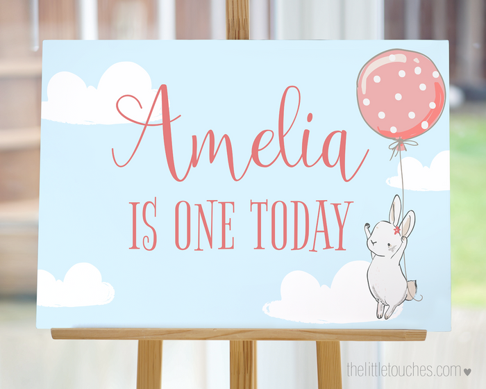 Birthday Bunny Printable Welcome Sign | Backdrop