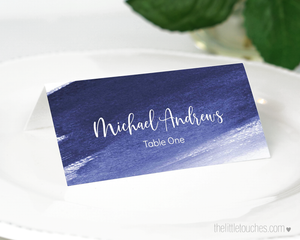 Printable Blue Watercolour paint Place setting Template