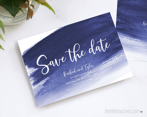 Blue watercolour wedding save the date card printable template