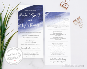 Blue Watercolour DIY wedding invitation template