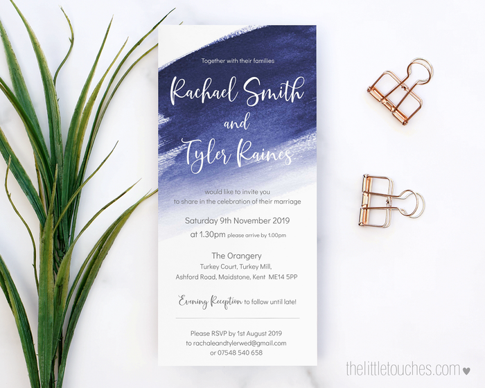 Blue Watercolour Printable Single Wedding Invitation
