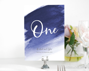 Blue Watercolour Table Number / Name Printable Template