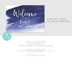 Blue Watercolour Printable Welcome Sign
