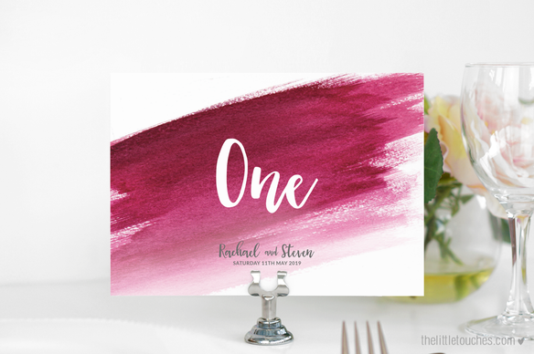 Burgundy Watercolour Table Numbers