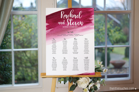 Burgundy Watercolour Table Plan